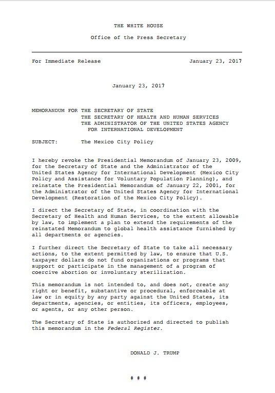 Mexico City Policy Executive Order